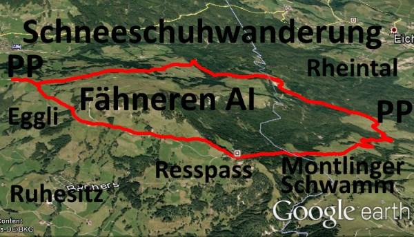 Schneeschuhwanderung Fähneren im Alpstein bei Appenzell (Google Earth)